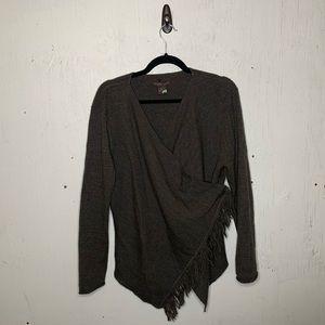 Fenn Wright Manson Brown Wool Wrap Fringe Cardigan